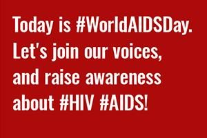 "Voices for World AIDS Day Social Post ""Today is #WorldAIDSDay. Let's Join our voices and raise awareness about #HIV #AIDS!"