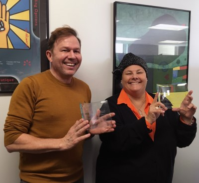 Award for Innovation recipients, Kevin Pendergraft and Jacqui Sas.