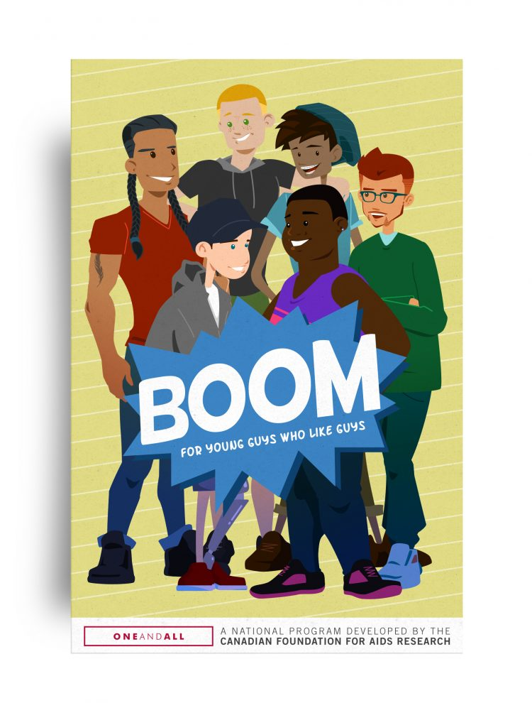 BOOM Postcard Group of young guys who like guys
