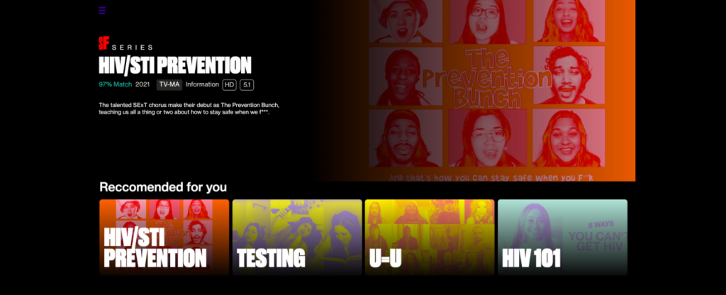Image of a mock Netflix home page with four videos 'Recommended for you' - HIV/STI Prevention, Testing, U = U, and HIV 101