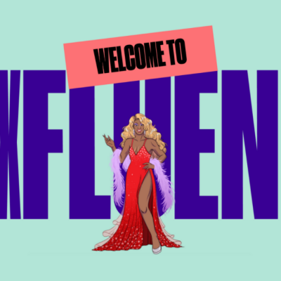 Image of drag queen in a red dress and lavender boa in front of large text that says,
