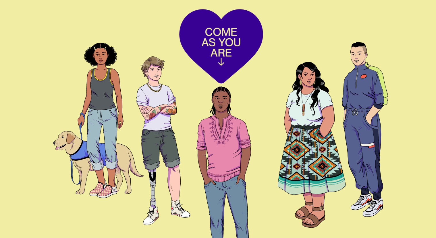 Illustration of five diverse youth dressed in Gen Z fashion with a heart above them saying,